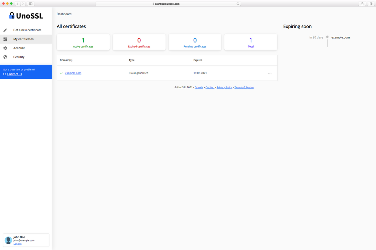 UnoSSL Dashboard now separated from the Landing Page