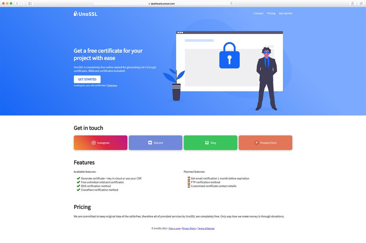 Brand new Landing Page design for UnoSSL